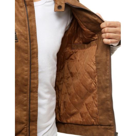 Kožená pánska camel bunda s módnym stojačikom