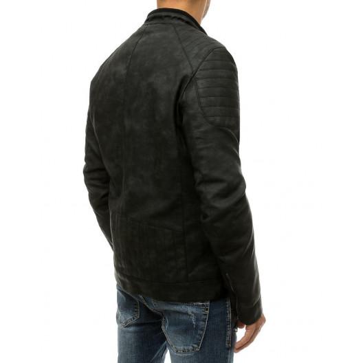 Kožená pánska čierna bunda s top rebrovaním a stojačikom