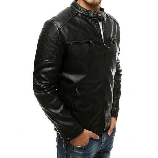 Trendy pánska čierna kožená bunda so stojačikom