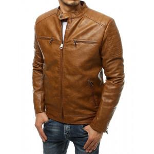 Moderná pánska hnedá camel kožená bunda so stojačikom