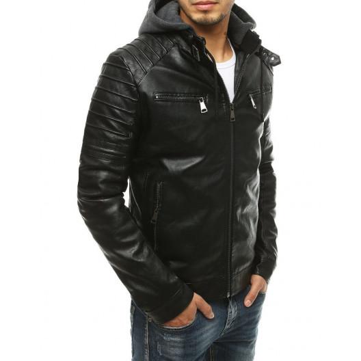 Trendy pánska čierna kožená bunda s kapucňou