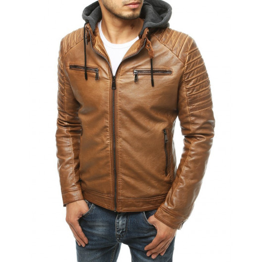 Originálna svetlo hnedá kožená bunda s kapucňou