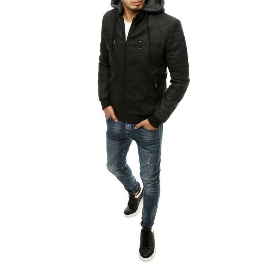 Štýlová pánska čierna kožená bunda s kapucňou