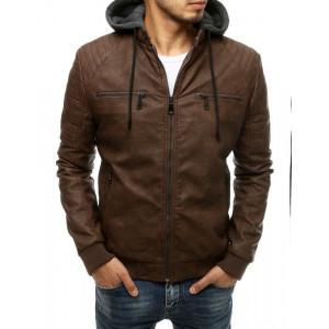 Štýlová pánska tmavo hnedá kožená bunda s kapucňou