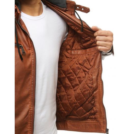 Štýlová pánska kožená camel bunda s odnímateľnou kapucňou