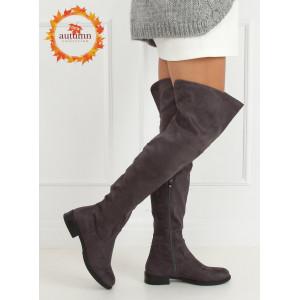 Elegantné čižmy nad kolená sivej farby