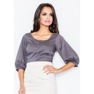 Dámska košeľa s krátkym rukávom sivej farby
