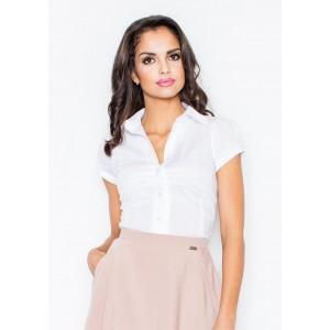 Dámska košeľa s krátkym rukávom bielej farby