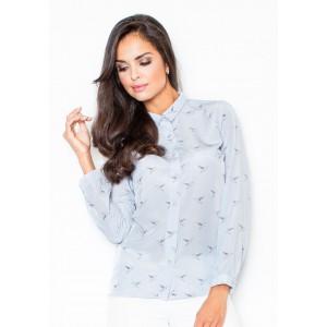 Dámska svetko modrá košeľa s vtákmi