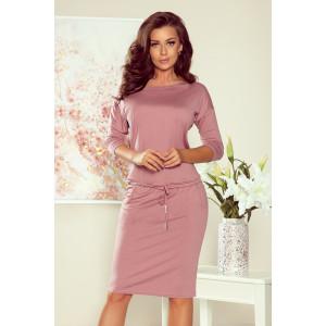 Jednofarebné dámske šaty v púdrovo ružovej farbe