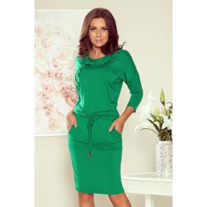 Zelené dámske šaty športového strihu s veľkým golierom