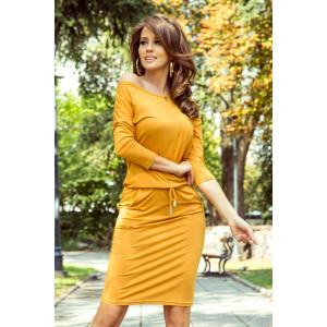 Dámske ležérne šaty v štýlovej horčicovej farbe