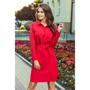 Košeľové šaty s opaskom červenej farby