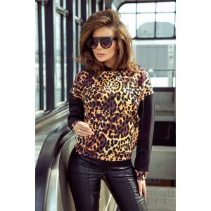 Dámska štýlová mikina s leopardím vzorom