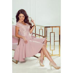 Spoločenské dámske ružové šaty s čipkou a bohatou sukňou