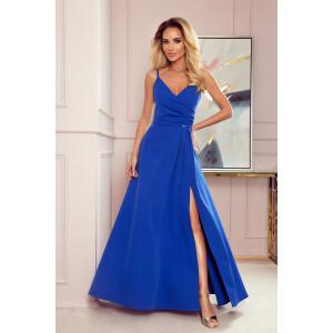 Modré dámske dlhé šaty na ramienka a výstrihom