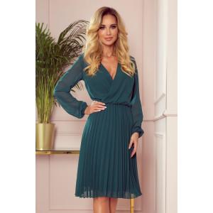 Zelené dámske šaty s módnou plisovanou sukňou