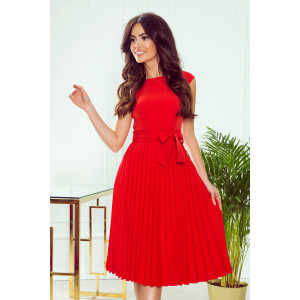 Luxusné dámske červené šaty s plisovanou sukňou