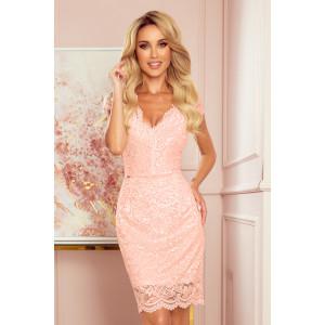 Ružové čipkované dámske mini šaty