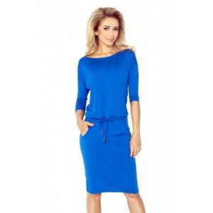 Dámske športové šaty modrej farby na viazanie