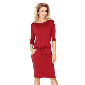 Dámske ležérne šaty v bordovej farbe