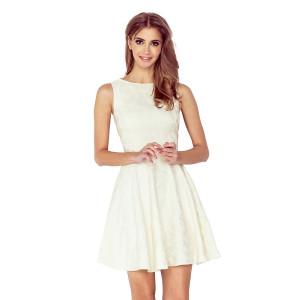 Spoločenské smotanovo biele dámske mini šaty