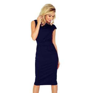 Moderné dámske midi modré šaty s bočnými vreckami