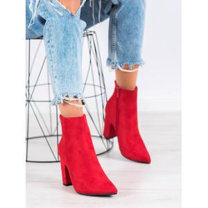 Červené dámske členkové topánky na vysokom podpätku