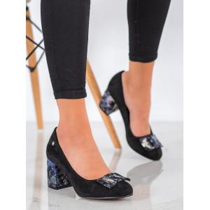 Moderné dámske čierne lodičky s ozdobnou mašľou