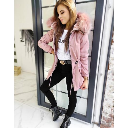 Ružová dámska bunda parka s bohatou kožušinou