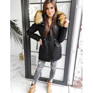 Čierna dámska zimná bunda na zimu s kožušinovou kapucňou