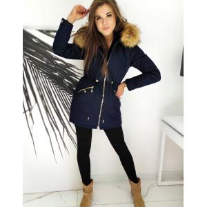 Modrá dámska bunda s kapucňou a zlatým zipsom