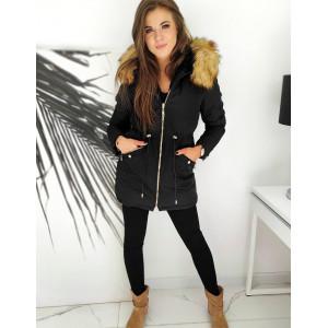 Čierna dámska bunda s kožúškom a kapucňou