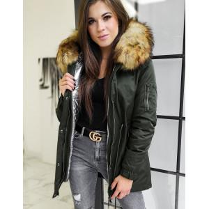 Luxusná zeleno strieborná dámska zimná bunda VELLA 3V1