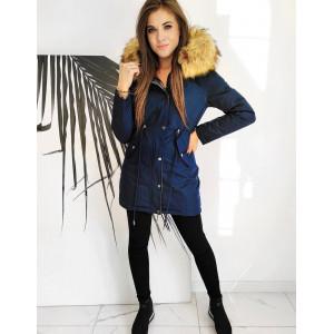 Obojstranná dámska strieborno modrá zimná parka s bohatou kožušinou
