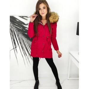 Štýlová červeno strieborná dámska obojstranná bunda RENEVI