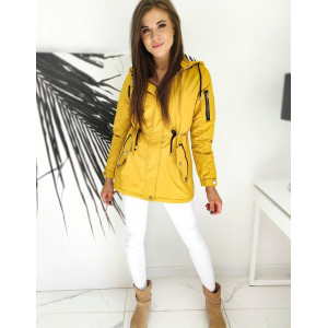 Žltá dámska bunda parka s kapucňou s detailným prepracovaním