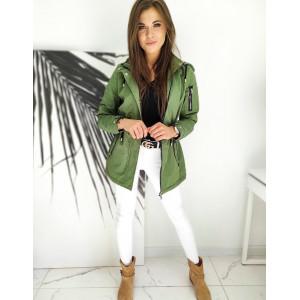 Originálna zelená dámska bunda parka s kapucňou