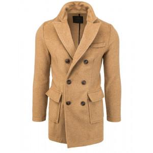 Originálny hnedý pánsky dvojradový kabát