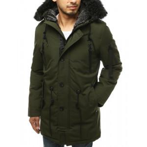 Khaki parka bunda pre pánov na zimu s kožušinou