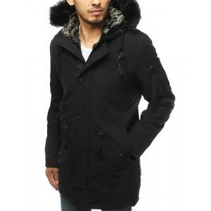 Trendy čierna pánska zimná parka bunda s kožušinou