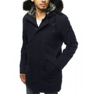Štýlová zimná tmavomodrá pánska parka bunda s kožušinou