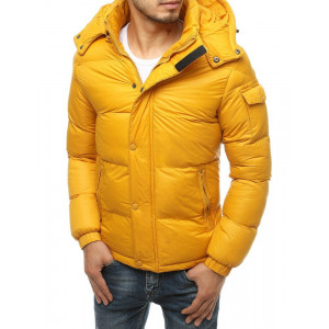 Žltá jednofarebná pánska zimná prešívaná bunda