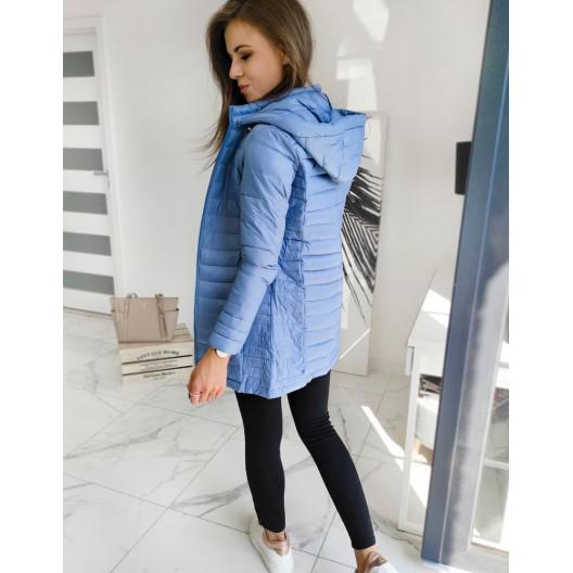 Prechodná dámska prešívaná modrá bunda s kapucňou