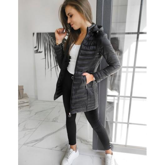 Čierna dámska prechodná prešívaná bunda s kapucňou
