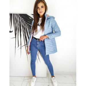 Modrá dámska prechodná bunda s ružovou kapucňou