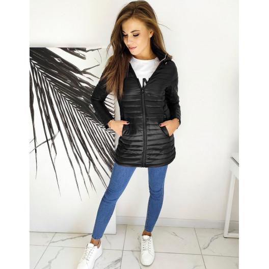 Dámska čierna prechodná bunda s odopínateľnou kapucňou