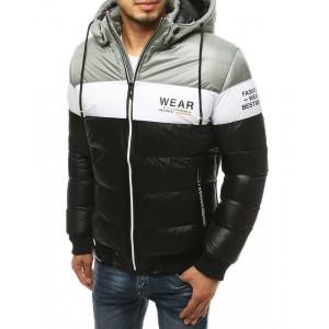 Pánska čierna kontrastná prešívaná zimná bunda