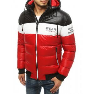 Zimná červená pánska prešívaná bunda s potlačou