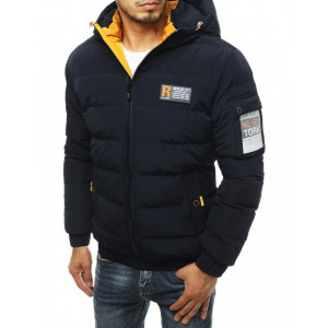 Tmavomodrá zimná pánska bunda so žltou podšívkou